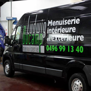 Lettrage camionette Menuiserie Ludwig Ducamp